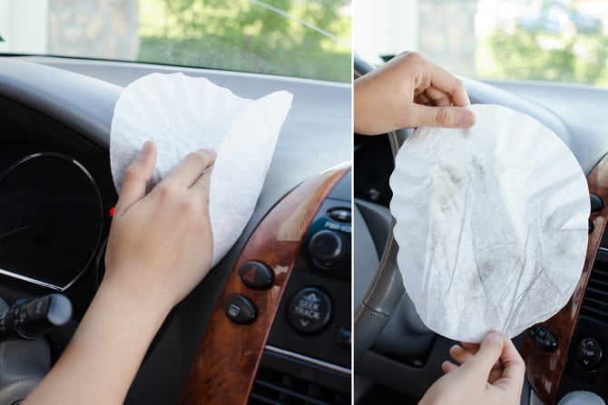 use coffee filters to dust car