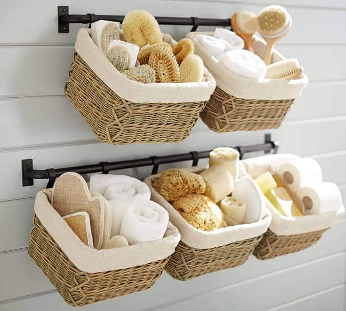use baskets to organize bathroom