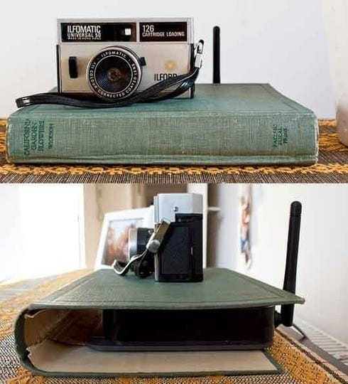 Hide router in book home decor idea #HomeDecor