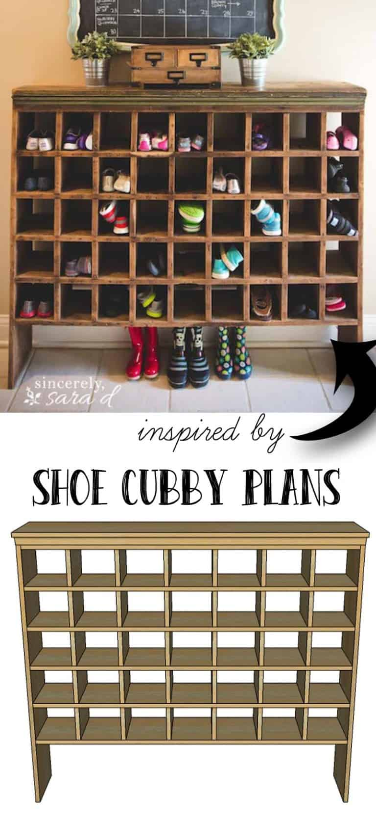 DIY Shoe Cubby plans for your shoe organization at home.