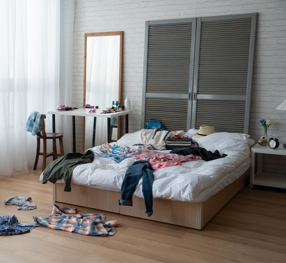 cleaning tips - pile everything on the bed