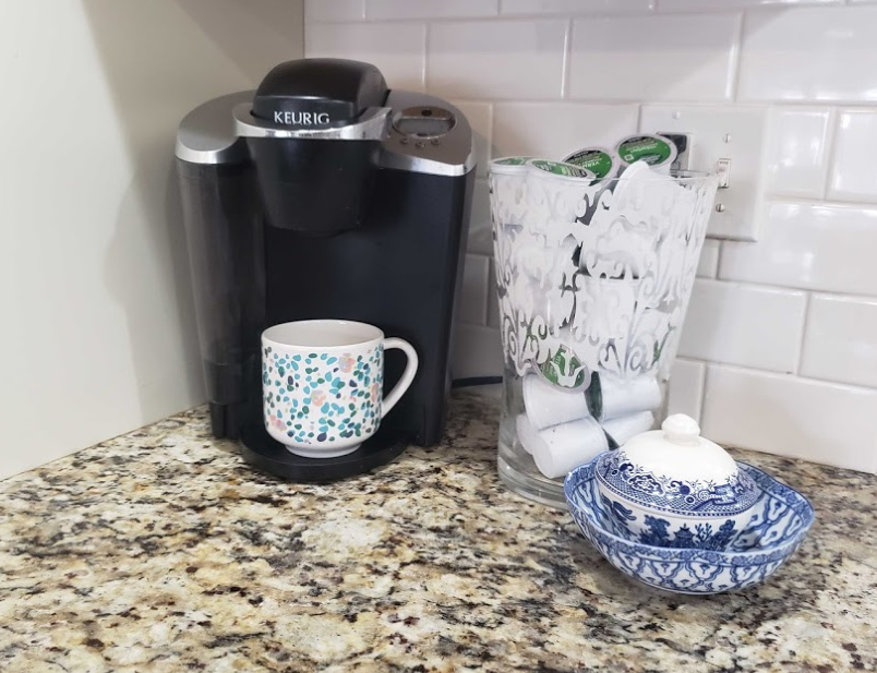 Eliminate Visual Clutter - My coffee bar after