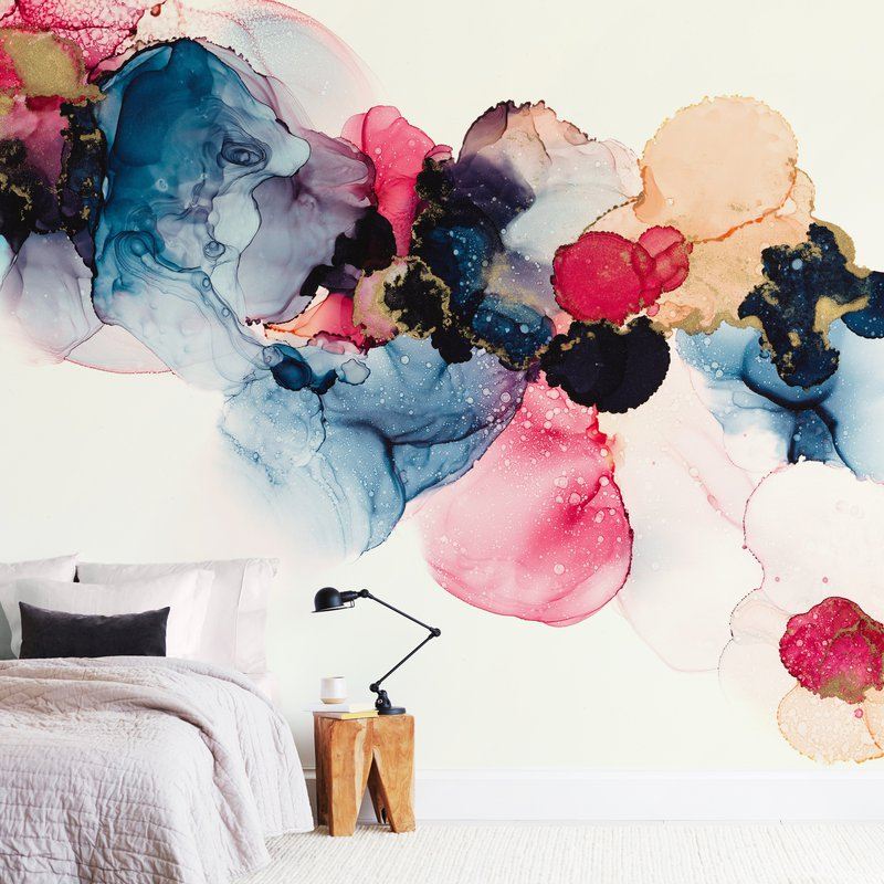 Colorful wall mural for a bedroom.