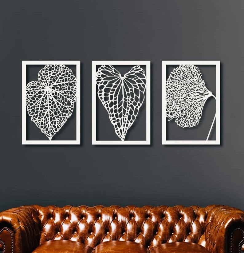 Pretty Metal Dried Leaves for the bedroom walls.