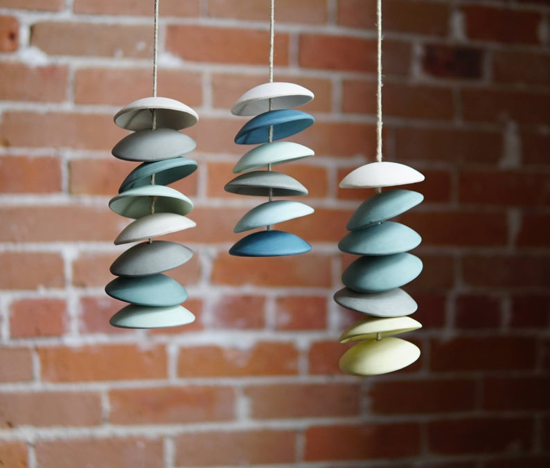 Stoneware wind chimes in blues and greens