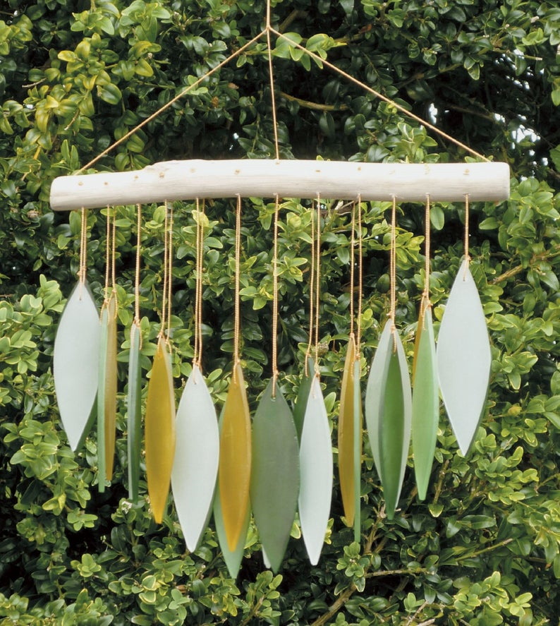 Green glass windchimes.