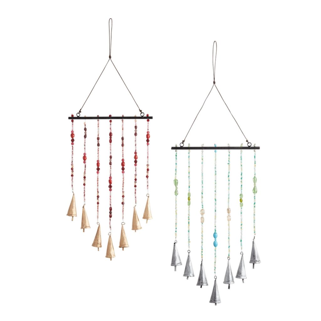 Set of colorful bead and bell windchimes