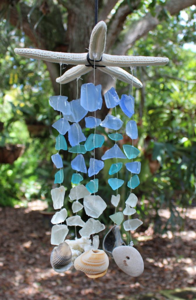 Sea glass mobile with seashells