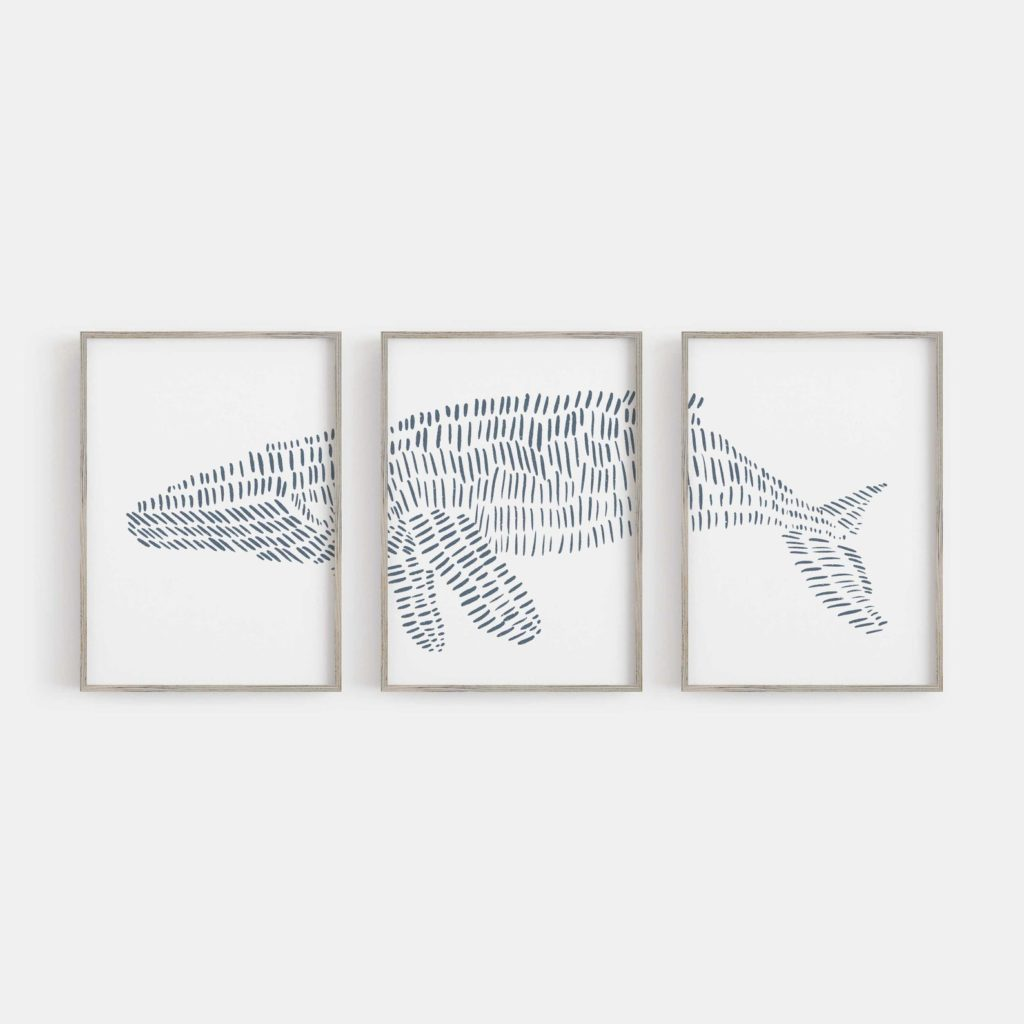 Abstract whale art tryptic