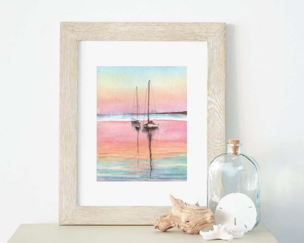 pink, blue green watercolor of sailboats.