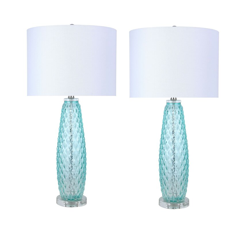 blue green glass lamps