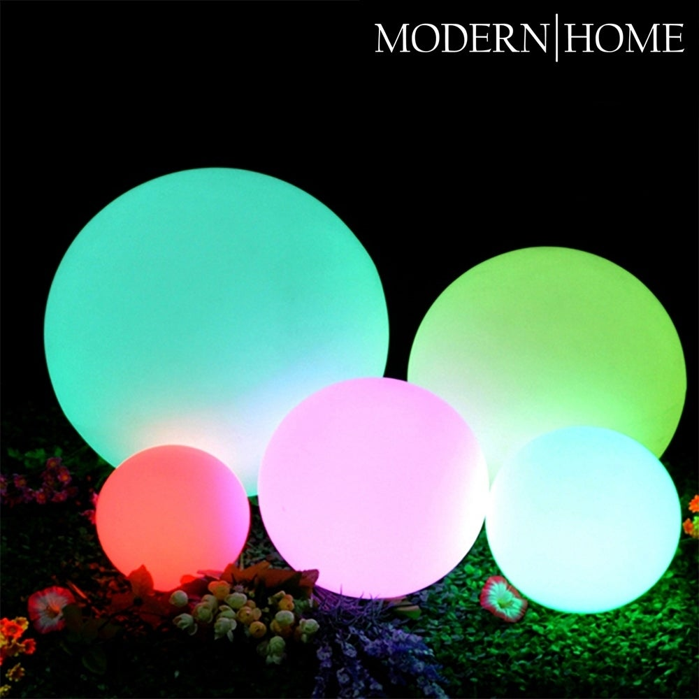 Glowing LED globes for the garden