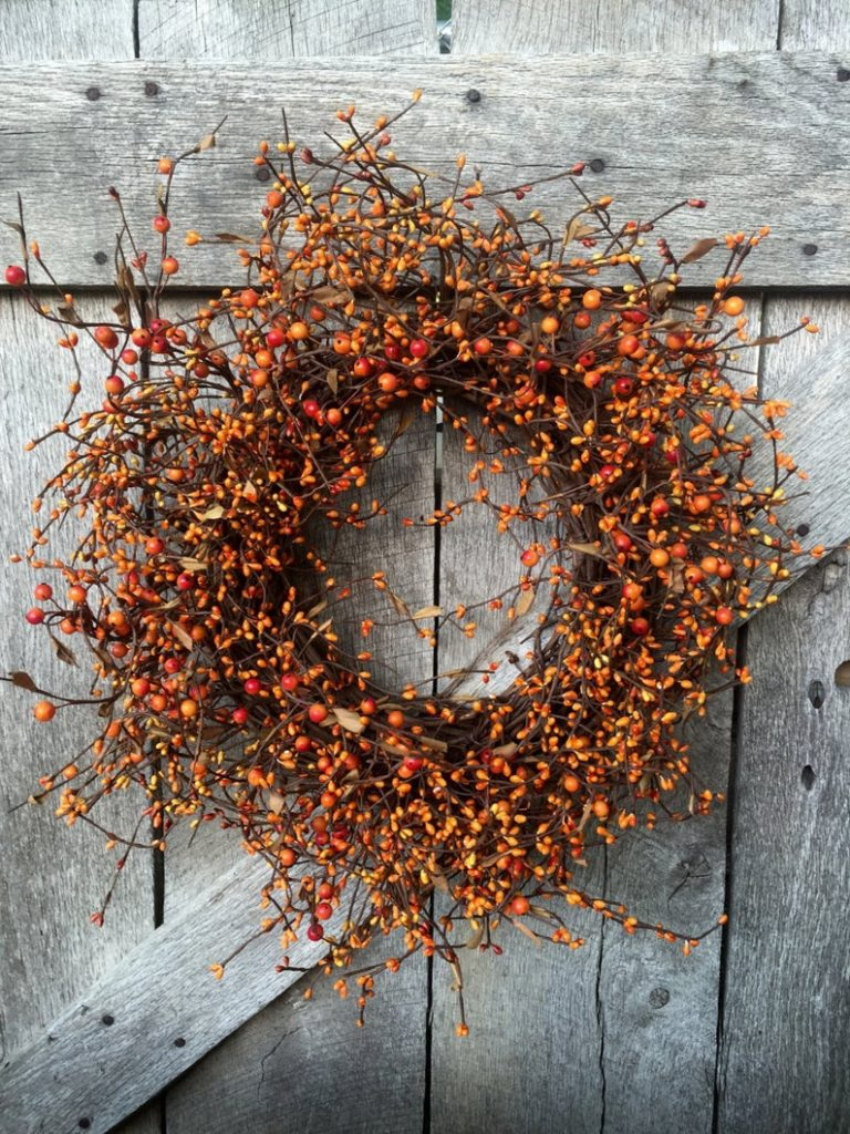 Orange pip berry wreath for fall