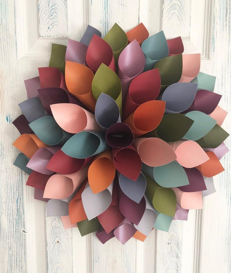 Pretty paper dahlia wreath with fall colors.