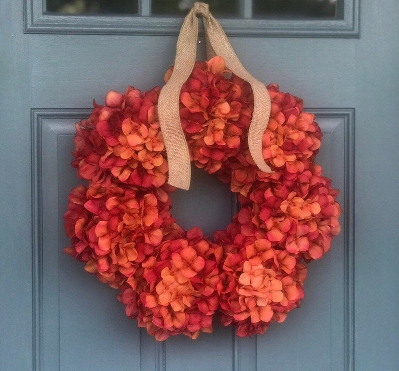 Burnt orange hydrange fall wreath