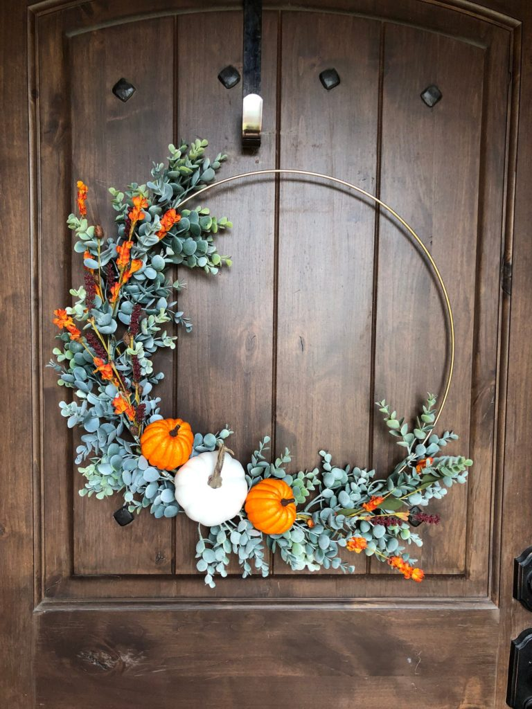 Modern pumpkin hoop wreath.