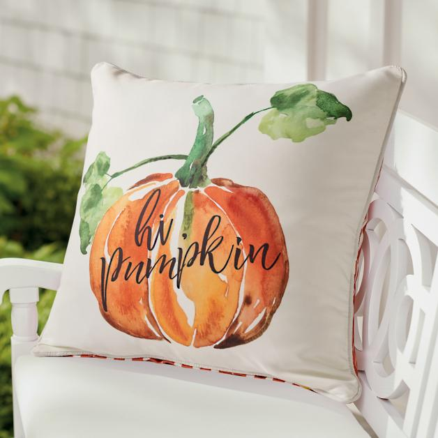 Welcome everybody with this cute Hi Pumpkin pillow.