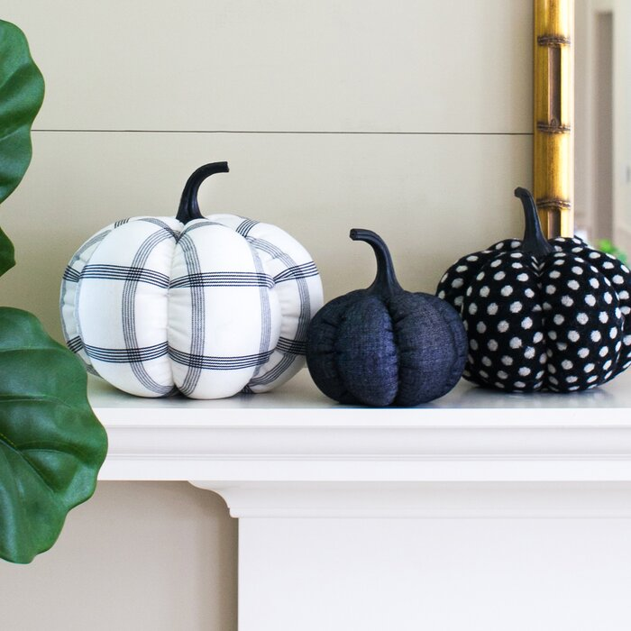Upscale fabric pumpkins when you're ready for real pumpkin decor.
