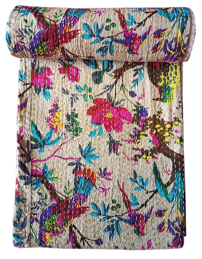 Kantha throw - colorful pink and blue