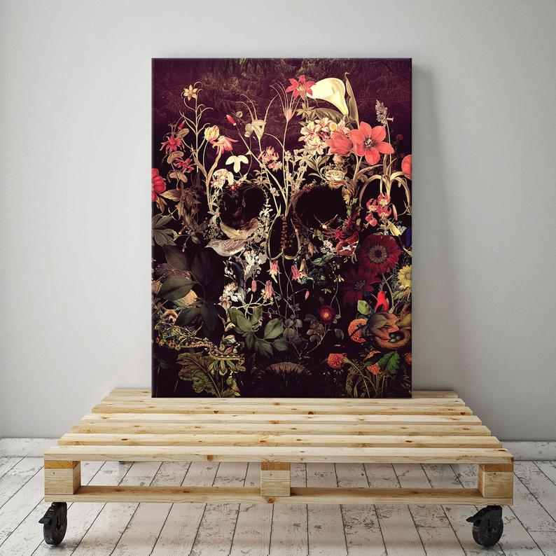 Beautiful floral skull canvas