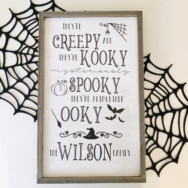Addams family personalized halloween decor