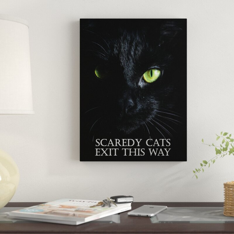 Black cat with green eyes on a canvas.