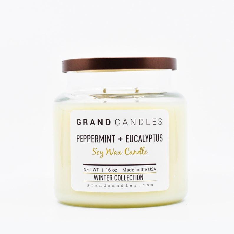 peppermint eucalyptus scented winter candle