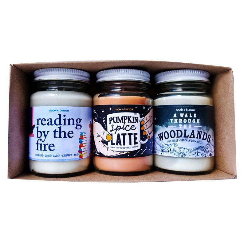 winter scented candle trio